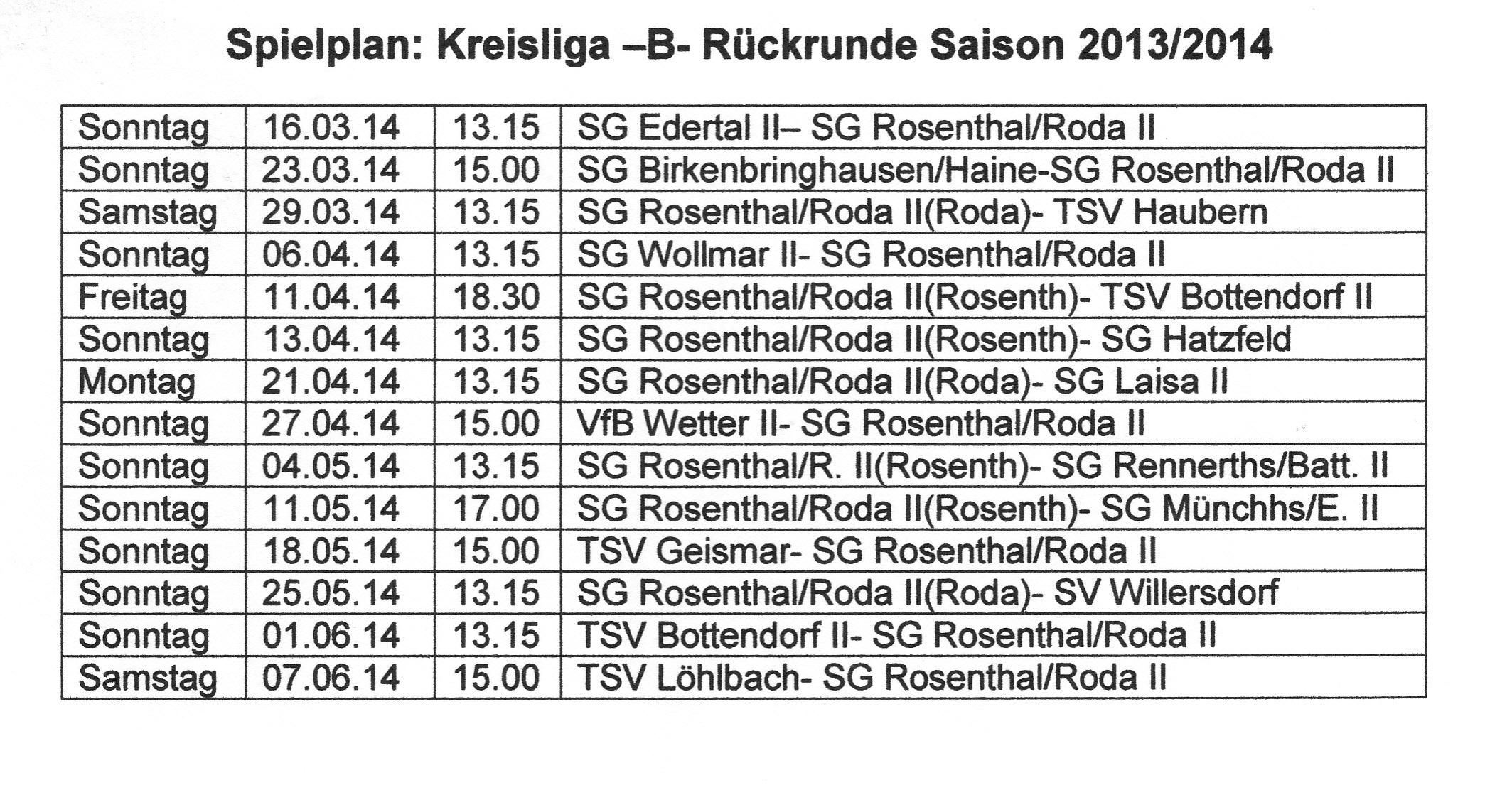 Rückrunde 2013-2014